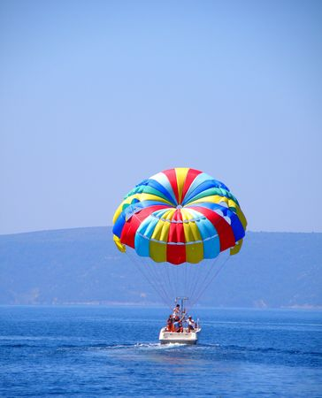parasailing in croatia       Stock Photo