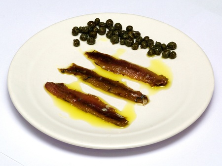 capers: salted sardines with capers in oliv oil