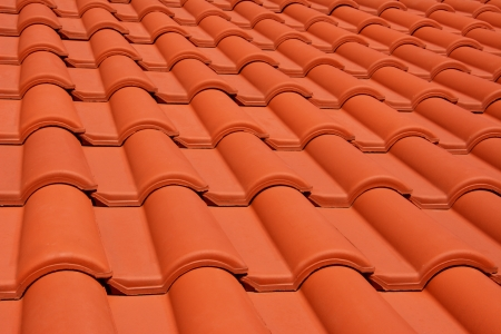 close up of red roof texture tile  Stock Photo