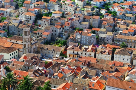 touristic: Old roofs of town Hvar  Popular touristic destination in Croatia