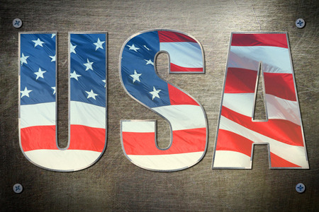 steel background: USA flag sign on steel background texture
