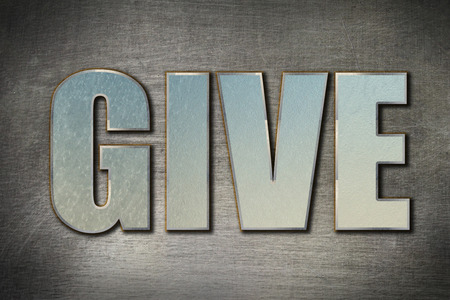 dispense: Give word concept on grunge steel background