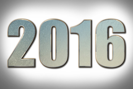 turns of the year: 2016 steel numbers on steel background