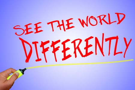 differently: See the world differently text with marker on light background