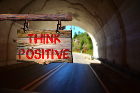 positivity: Think positive sign with blurred background