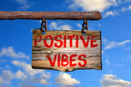 vibes: Positive vibes sign with blurred background Stock Photo