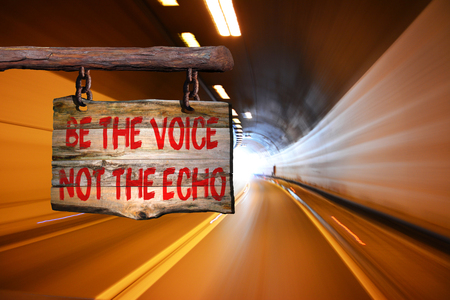 to be or not to be: Be the voice not the echo motivational phrase sign on old wood with blurred background