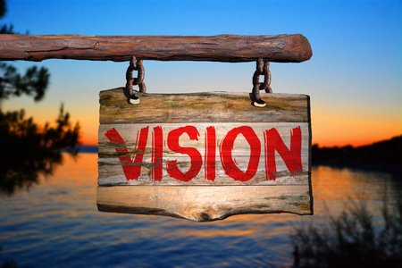 blurred vision: Vision motivational phrase sign on old wood with blurred background Stock Photo
