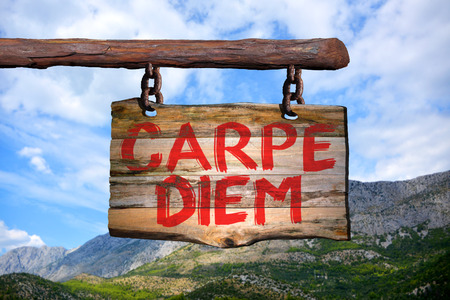 Carpe diem motivational phrase sign on old wood with blurred background