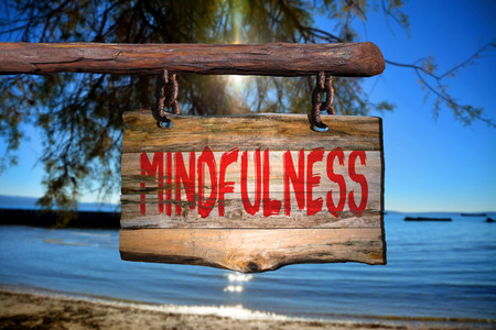 phrase: Mindfulness motivational phrase sign on old wood with blurred background Stock Photo