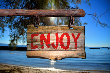 phrase: Enjoy motivational phrase sign on old wood with blurred background