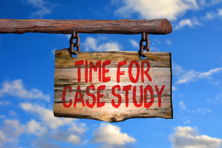 Time for case study motivational phrase sign on old wood with blurred background Stock Photo