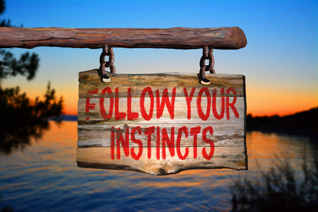 Follow your instincts motivational phrase sign on old wood with blurred background