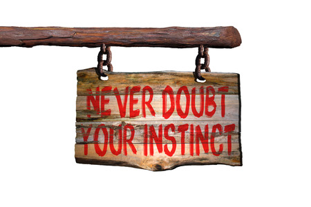 instinct: Never doubt your instinct motivational phrase sign on old wood with white background