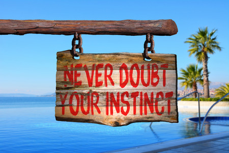 instinct: Never doubt your instinct motivational phrase sign on old wood with blurred background Stock Photo