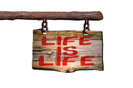 Life is life motivational phrase sign on old wood with white background Stock Photo