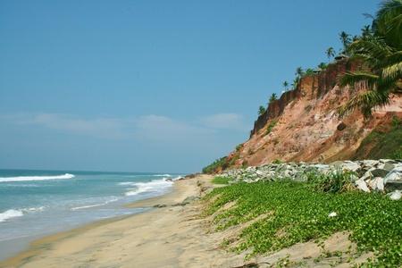 steep cliffs: landscape of steep cliffs Varkala beach in India