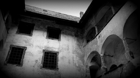 lattice window: Old castle inner courtyard - Black and White Editorial