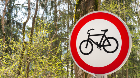 Bicycle driving prohibition - Road sign background