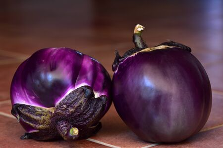 Two lilac round eggplants lie on brown tiles in front of dark background in summer in Sicily