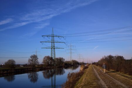 12302019, near Augsburg, Germany on the Lech Canal, the tamed water of the river