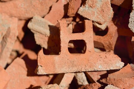 Background from rubble of broken red bricks