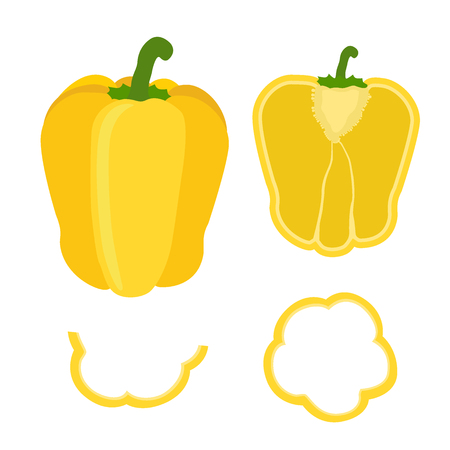 chili sauce: Set of sliced yellow bell pepper. Rings, half and quarter of pepper in flat style.