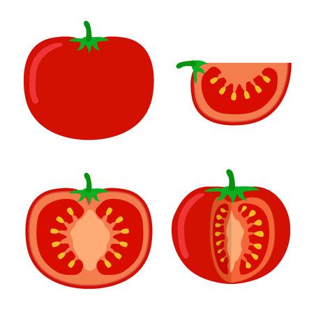 sliced: Tomatoes illustration on white background. Tomato slices, ingredients.