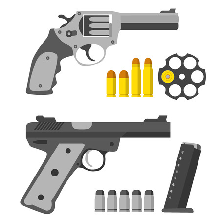Set of pistols. Revolver, revolvers barrel and bullets.Gun and clip with bullets.