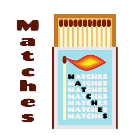 kindle: illustration of matchbox with matches. Box with matchsticks.