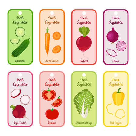 bell tomato: Set of blank with different vegetables. Cucumber, sweet carrot, beetroot, Chinese cabbage, tomato, bell pepper, garden radish and onion. Illustration for village markets, supermarkets, gardens.