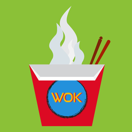 chinese food container: Wok box illustration with chopsticks. Wok set on flat style.