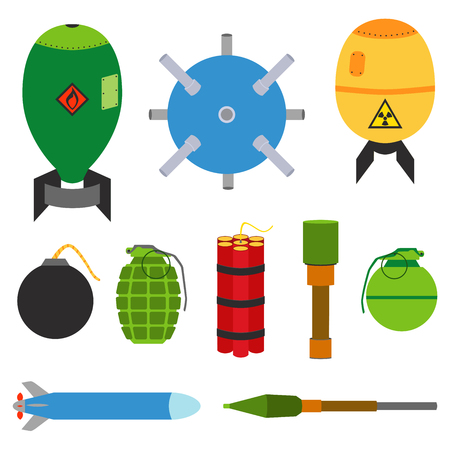 nuclear bomb: Explosive set of dangerous bombs. Nuclear bomb, air bomb, missile, tnt, dynamite, grenade, bomb, stick grenade, landmine, hand grenade, marine mine. Made in flat style.