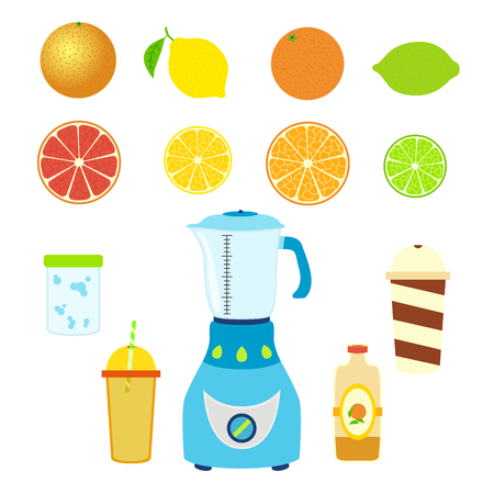 tubule: Set of juice ingredients Illustration