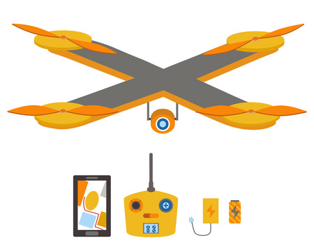 Quadrocopter lumineux, télécommande, système de navigation, batterie et chargeur.