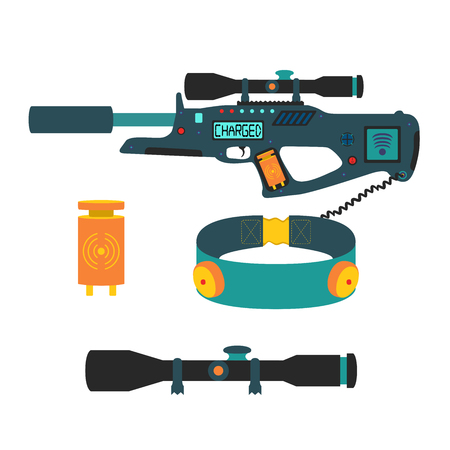 tagged: Laser tag game set in flat style