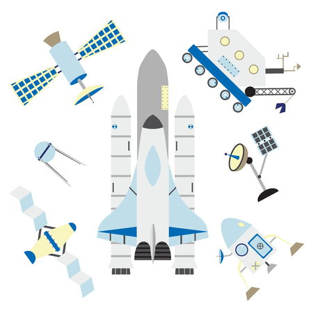 space antenna: Isolated space elements. Shuttle, rocket, satellites, antenna and moonwalker. Made in flat style. Great for design about space, journals t-shirts, magazines.