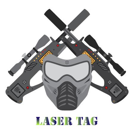 Set of laser tag game. Illustration