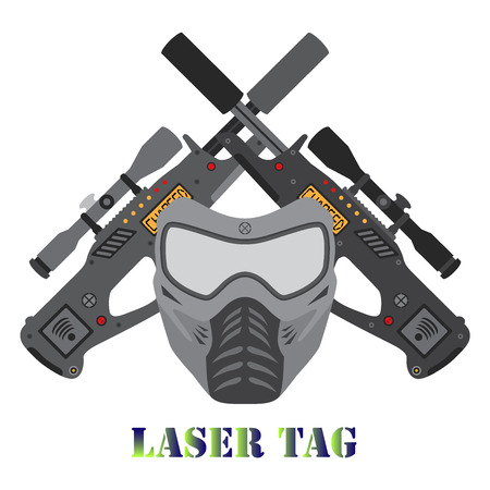 laser tag: Set of laser tag game. Illustration