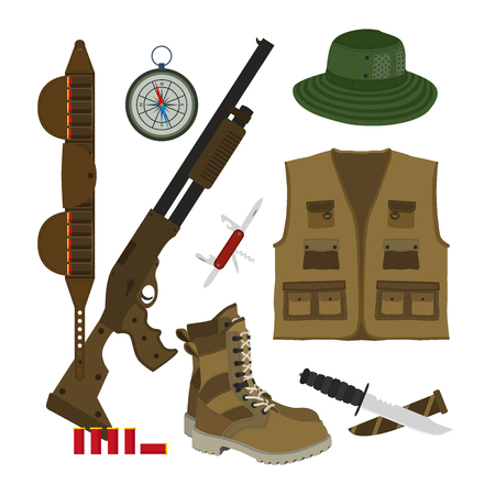 Hunter set in flat style. Camouflage hat, gun with shells, bandolier, knife, compass, army boots and hunter vest.