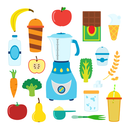 lactic: Set of cartoon food for smoothie with blender, mixer. Ingredients for berry, fruit, cereal, vegetable, protein, lactic smoothie.