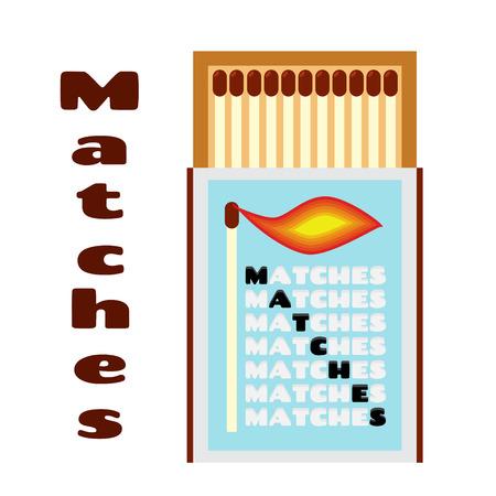 matchbox: illustration of matchbox with matches. Box with matchsticks.