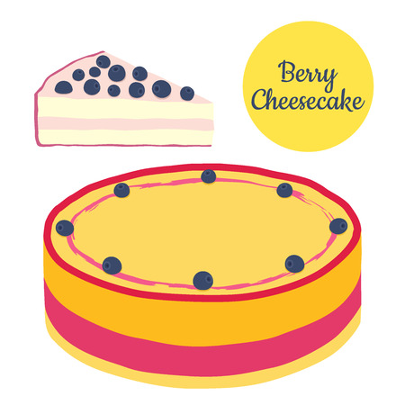 blueberry cheesecake: Whole and slice of berry cheesecake illustration in flat style. Hipster cake, pastry.