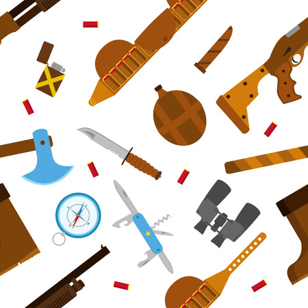 temperino: Hunting icons flat pattern with knife, axe, shotgun, case, lighter, pen-knife, compass, shell, bullets, binoculars, bottle and boots isolated illustration. Seamless pattern. Vettoriali
