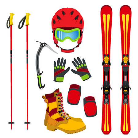 Helmet, gloves, ski, boots, pads, ice pick in flat style. Equipment for skiing, snowboarding, mountain hiking style. Winter extreme sports set.