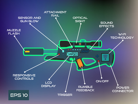 Laser tag game, laser gun infographics in trendy flat style.