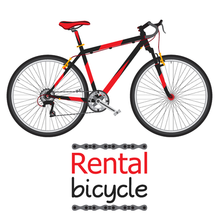 for rental: City bike hire, rental bicycle for tourists in flat style.