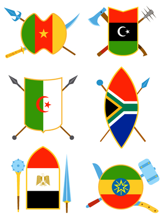 Ancient weapon, shields with African flags. Also tool equipment set. Melee weapon. Cold weapon and country set. Historical shields.