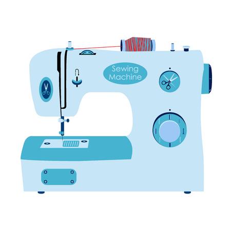 mammy: Sewing machine in flat style. Needlework, sewing set.