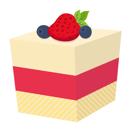 Cake with berries, cupcake with strawberry and blueberry. Jelly cheesecake. Bakery, market illustration in cartoon flat style. Illustration